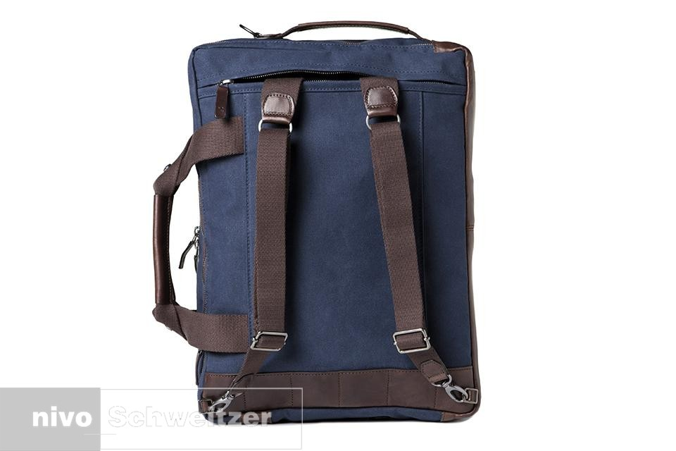 BARBER SHOP convertible bag Undercut [blue canvas & dark brown leather]