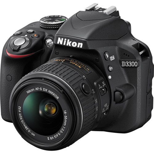 NIKON D3300 kit, zwart [body + AF-P DX 18-55VR lens]